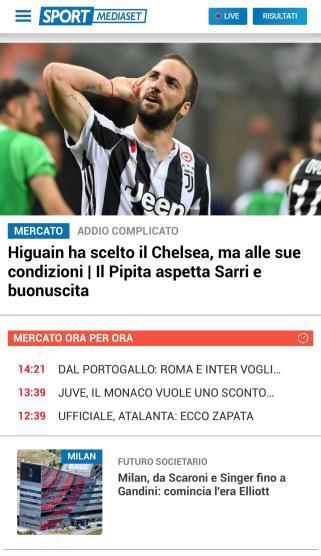 Tutte Le News Le Trovi Su Sportmediaset Mobile Mediaset It